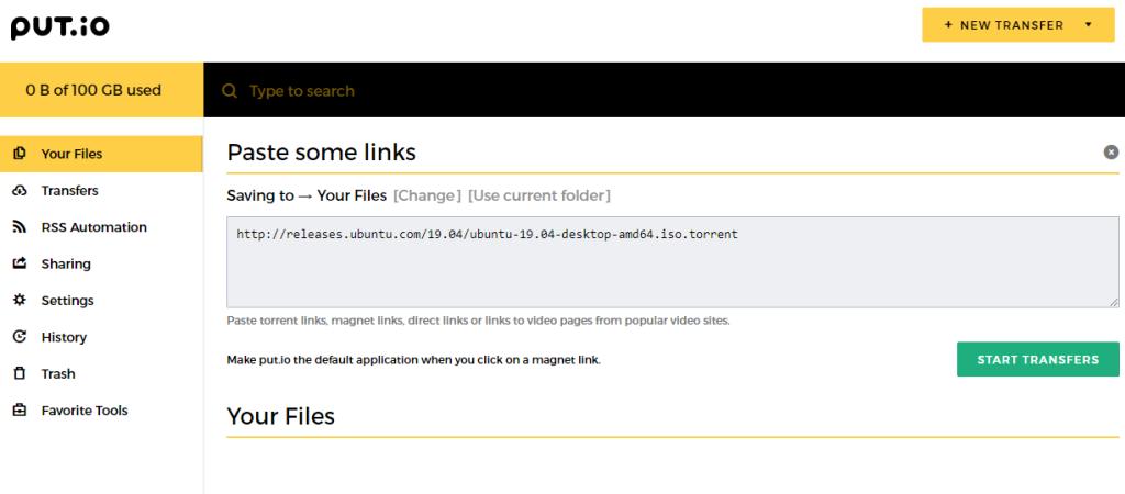 Put.io online torrent client