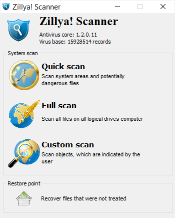 Zillya portable virus scanner