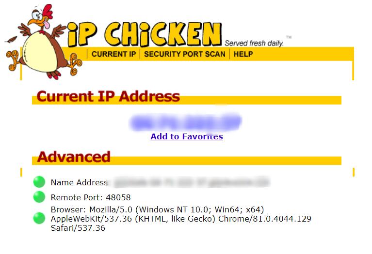 IP Chicken IP finder website