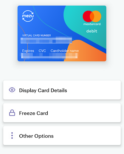 Mezu virtual debit card