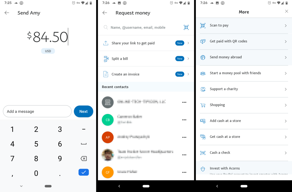 PayPal money sending app